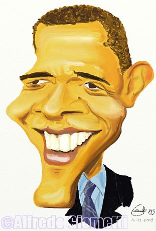 Barack Obama caricatura caricature portrait
