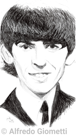 George Harrison caricatura caricature portrait